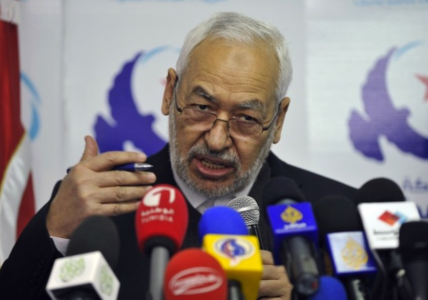 راشد غنوشی رهبر النهضه تونس در جریان مصاحبه مطبوعاتی در مه ۲۰۱۳ - عکس از گتی ایمیجز