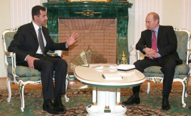 ولادیمیر پوتین رئیس جمهور روسیه (راست) بشار اسد رئیس جمهور سوریه