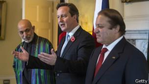 تاکید کرزی، شریف و کامرون بر روند صلح به رهبری افغانستان
