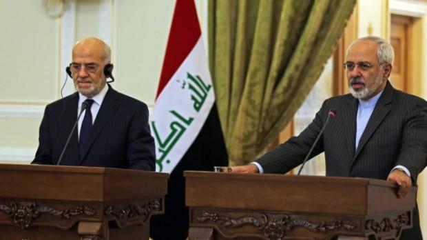 محمدجواد ظریف، وزیر امور خارجه ایران (راست) ابراهیم جعفری، وزیر امور خارجه عراق - آژانس عکس خبری اروپایی