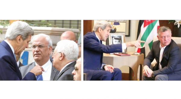 پادشاه اردن هنگام دیدار با کری در عمان (خبرگزاری فرانسه)... رئیس تشکیلات خود گردان فلسطین در حال گوش دادن به کری به هنگام استقبال از وی در مقر اقامتش در عمان با حضور صائب عریقات (آژانس عکس خبری اروپا)