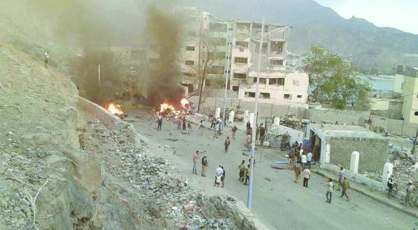 محل انفجار در نزدیکی منزل رئیس پلیس عدن در یمن
