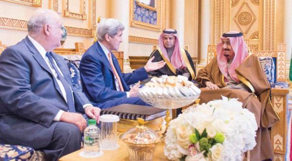 پادشاه عربستان سعودی و کری دخالت های ایران را مورد بحث قرار می دهند