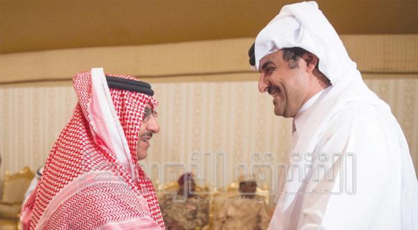 شاهزاده محمد بن نایف بن عبد العزیز ولیعهد و معاون رئیس شورای وزیران وزیر کشور با شیخ تمیم بن حمد آل ثانی، شاهزاده قطر