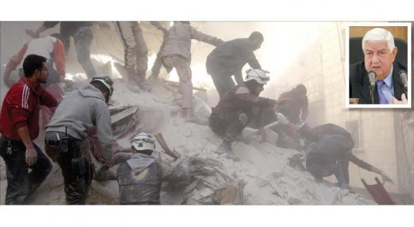 نیروهای نجات در تلاش برای امدادرسانی به قربانیان حمله جنگنده های روسی به حلب _ عکس از گیتی) در گوشه تصویر  ولید المعلم وزیر خارجه سوریه در یک کنفرانس مطبوعاتی در دمشق (رویترز)
