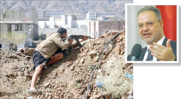 پیشروی نیروهای مشروعیت در چندین بخش تعز (عکس آژانس عکس خبری اروپا) در گوشه تصویر عبد الملک المخلافی وزیر خارجه یمن