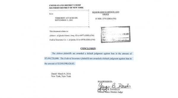 سند امضا شده توسط قاضی جورج دانیلز در حکم صادره ضد ایران – عکس از الشرق الأوسط