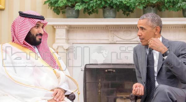 باراک اوباما، با شاهزاده محمد بن سلمان جانشین ولیعهد عربستان سعودی در اتاق بیضی کاخ سفید