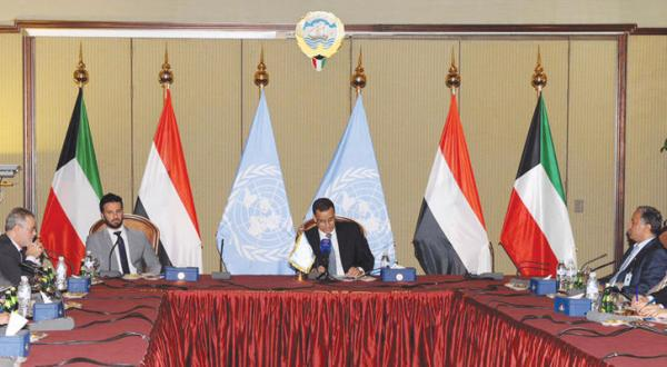بخشی از نشست ولد الشیخ با هیئت دولتی یمن و هیئت کودتاگران در کویت – عکس از خبرگزای فرانسه