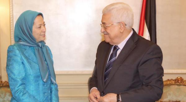 محمود عباس رئیس تشکیلات خودگردان فلسطین هنگام دیدار با مریم رجوی رهبر مخالفان ایران در پاریس – عکس از الشرق الأوسط