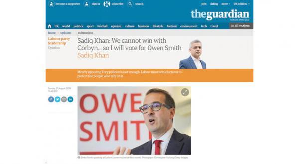 صدیق خان به کوربن پشت می کند و شانس اسمیت را برای رهبری حزب کارگر بیشتر می کند