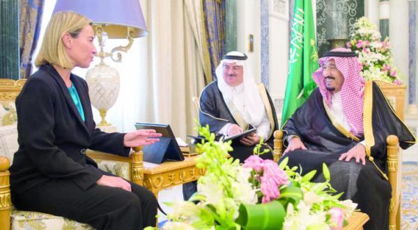 دیدار خادم حرمین شریفین با مسوول سیاست خارجی اتحادیه اروپا