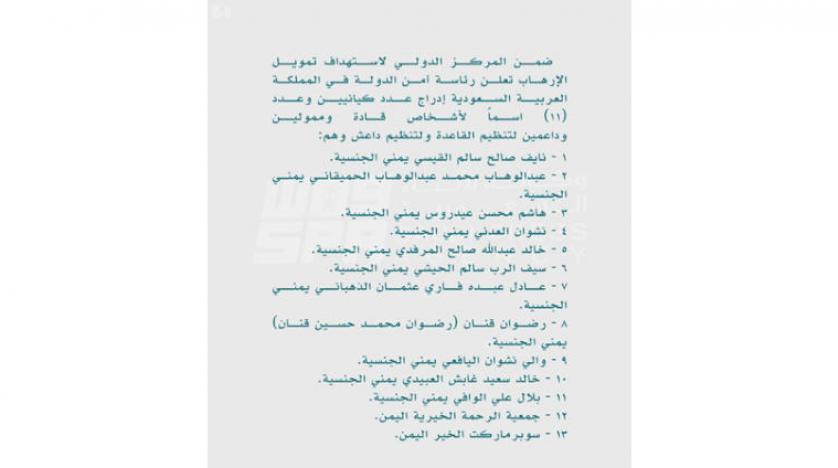 یازده فرد و دو نهاد یمنی در فهرست تروریسم عربستان سعودی
