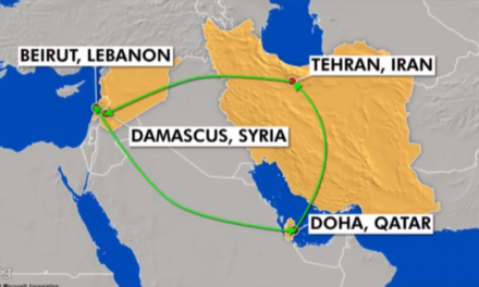 حرکت هواپیمای مهمات ایرانی از تهران به بیروت تا دوحه