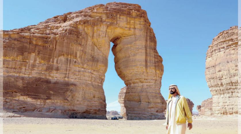 حاکم دبی از «مدائن صالح» و «کوه فیل» سعودی دیدن کرد